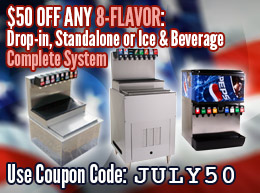 $50 off ANY Drop-in, Standalone or Ice and Beverage Soda Fountain System with Coupon Code: JULY50