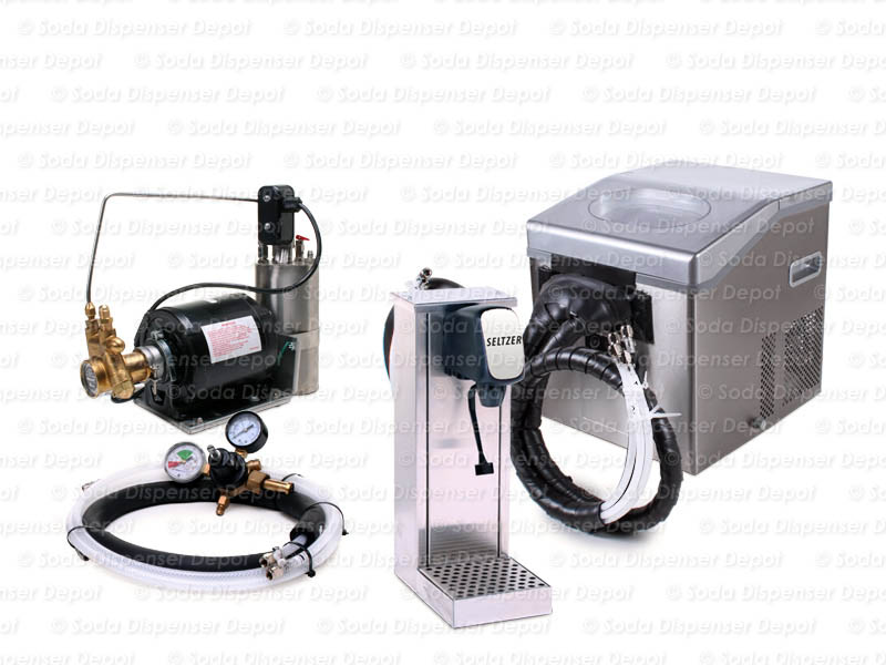 Seltzer Tower Soda Fountain System with Compact Remote Chiller
