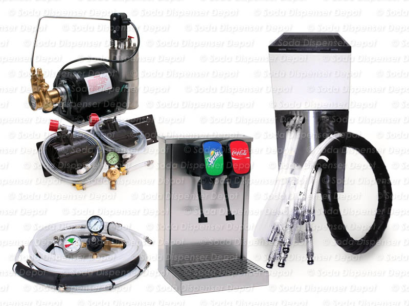 2-Flavor Tower Soda Fountain System with Remote Chiller