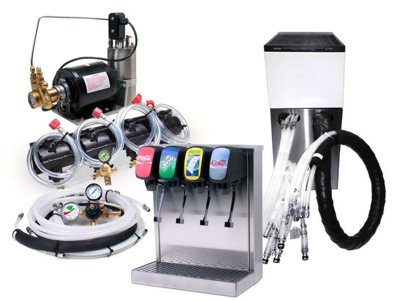 4-Flavor Tower Soda Fountain System with Remote Chiller