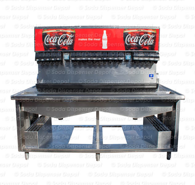 20-Flavor Ice And Beverage Soda Fountain System with Stainless Cabinet