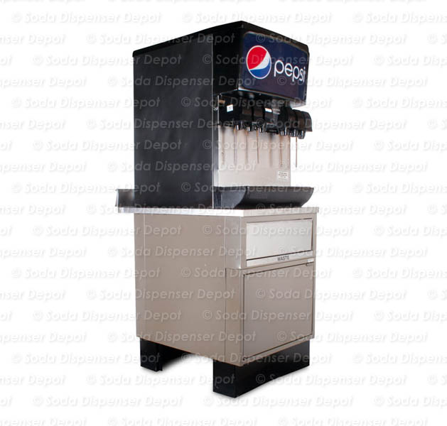 6-Flavor Ice & Beverage Soda Fountain System with Waste Cabinet Stand