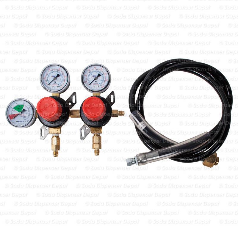 Triple Gauge CO2 Regulator with High Pressure Flex Hose