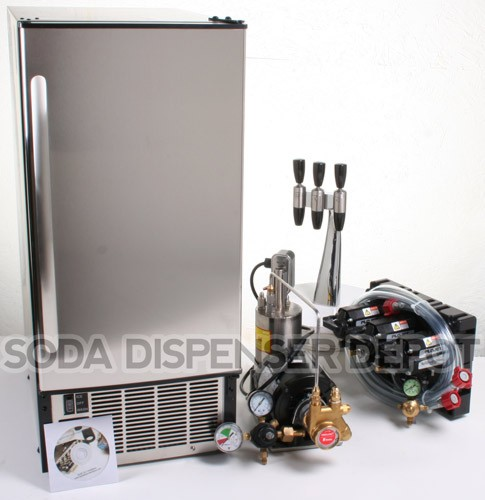 3-Flavor Draft Arm Soda Fountain System With Under Counter Ice Maker
