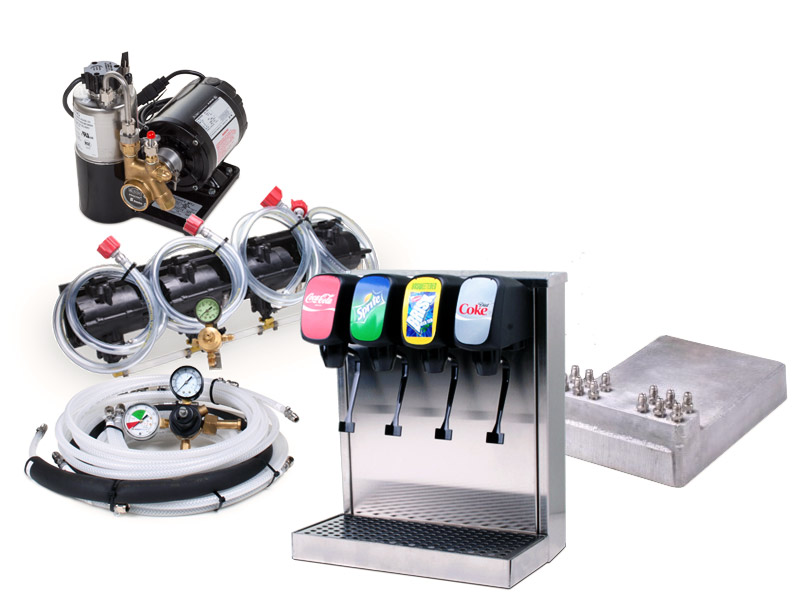 4-Flavor Tower Cold Plate Soda Fountain System
